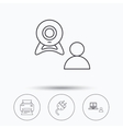 Video chat printer and electric plug icons vector image vector image