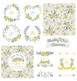 Vintage Floral Set - Frames Ribbons Backgrounds vector image vector image