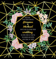 wedding invitation with geometric frame flowers vector image vector image