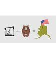Oil rig and bear Symbols of Alaska American flag vector image
