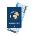 passport and boarding pass airline passenger vector image