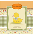 baby shower card with little duc vector image vector image