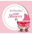 baby shower invitation card with carriage pink vector image