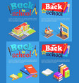 back to school collection of posters with text vector image vector image