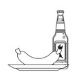 beer and sausage in black and white vector image vector image