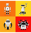 broken mad robots set bad errors and hacking vector image