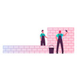 builder male characters wearing uniform holding vector image vector image