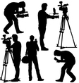 Cameraman with video camera Silhouettes on white