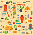camping hiking and fishing seamless pattern vector image vector image