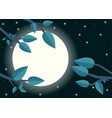 cartoon night with moon flat trees leaf and moon vector image