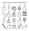 chemical laboratory equipment line icons vector image vector image