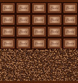 chocolate pieces coffee beans background vector image