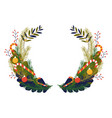 christmas wreath with pine branches and bells vector image