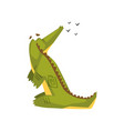 crocodile looking at birds flying in the sky vector image
