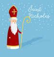cute greeting card with saint nicholas with mitre vector image