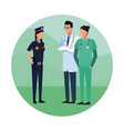 doctors and police vector image vector image