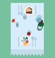 flat table for two vector image