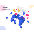 gaming influencers isometric modern flat design vector image vector image