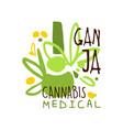 ganja cannabis medical label logo graphic vector image vector image