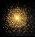 glow light effect star burst with sparkles golden vector image