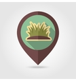 Grass flat mapping pin icon with long shadow vector image vector image