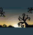 halloween scenery with tree and pumpkin vector image vector image