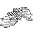 hands with playing cards engraving vector image vector image