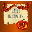 happy halloween inscription of bones pumpkins vector image