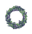 herbal wreath hand drawn color vector image vector image