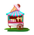 ice cream cart with tasty decor vector image
