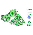 leaf green collage greek lesbos island map vector image vector image