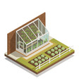 lean-to greenhouse isometric composition vector image vector image