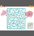 maze leisure game with pigs vector image vector image