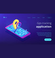 mobile tracking soft isometric 3d landing page vector image
