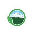 mountain farm natural logo circle vector image vector image
