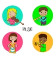 Musician children set of round icons vector image