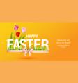 orange happy easter card vector image vector image