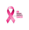 pink cancer ribbon with spanish text vector image vector image