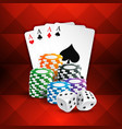 playing cards with casino coins and dice vector image