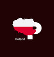 poland initial letter country with map and flag vector image