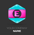 realistic letter e logo in colorful hexagonal vector image vector image