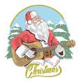 santa claus merry christmas guitar vector image vector image