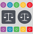 scales Icon sign A set of 12 colored buttons Flat vector image vector image