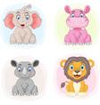 set cartoon zoo animals vector image vector image