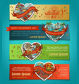 set of horizontal love banners vector image vector image