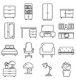 Set of icons in line style household accessories