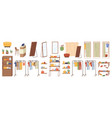 shopping clothing shoes store interior element set vector image