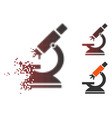 shredded pixel halftone labs microscope icon vector image vector image