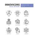 social network - modern line icons set vector image vector image