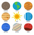 solar system planets icon set in flat style vector image